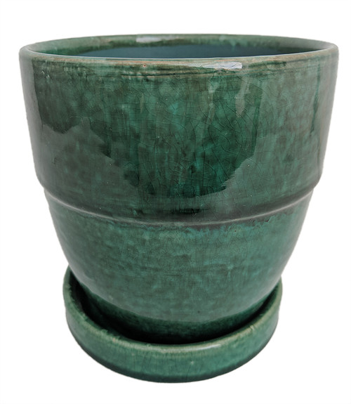 Cache Pot Wide with Attached Saucer - Crackle Green - 5\