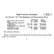 High Contrast Developer Formula D-19 - Free Download