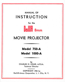 DeJUR Model 750-A and Model 1000-A 8mm Movie Projector Instruction Manual - Free Download