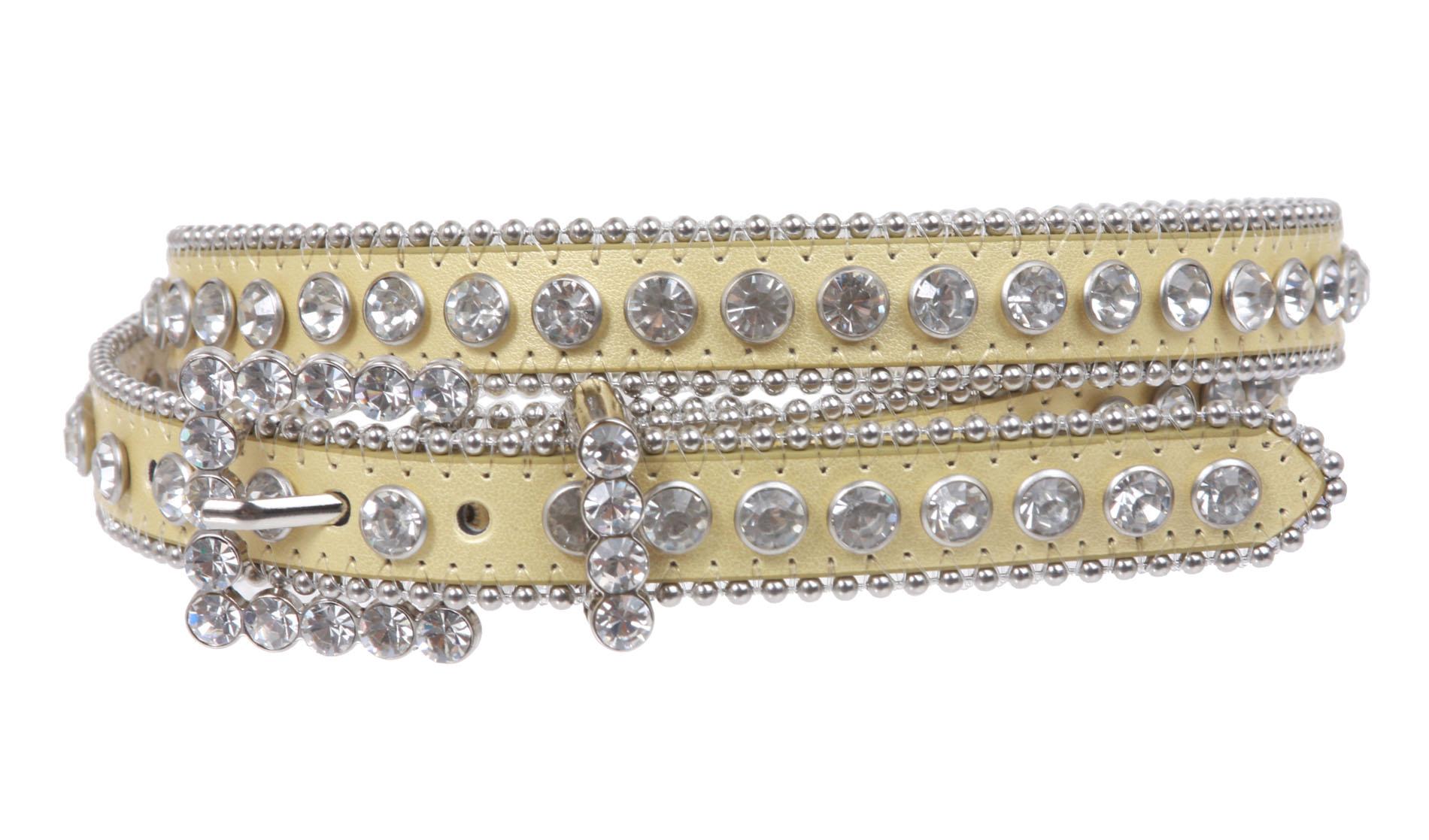 3 4 quot 19 mm rhinestone leather belt ebay