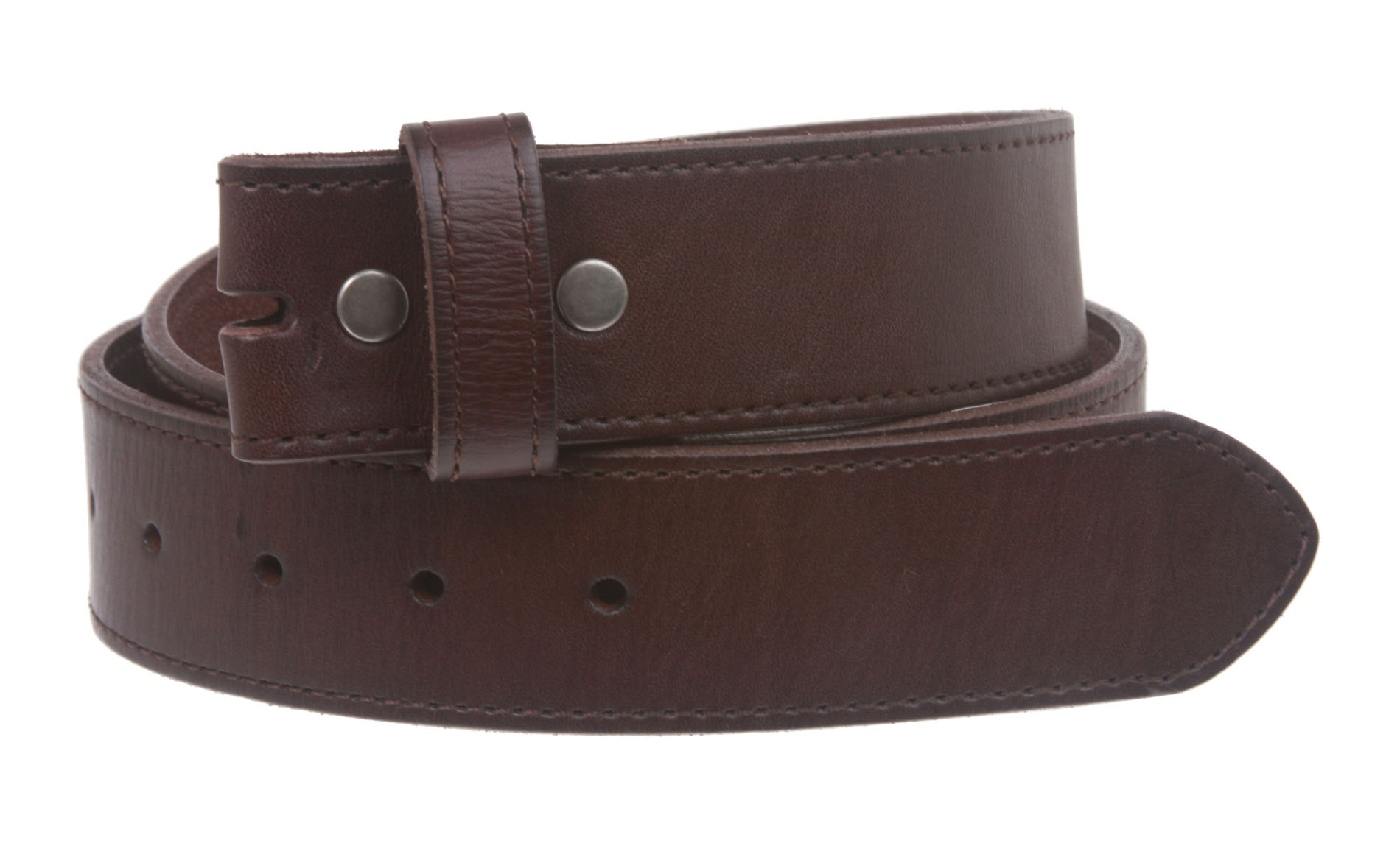 snap on cowhide grain stitching edged leather belt