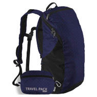 Two blue travel packs shown - one ready to use and the other packed in its pouch pocket