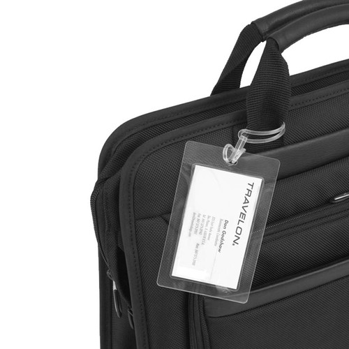 Use your business card to create a laminated luggage tag