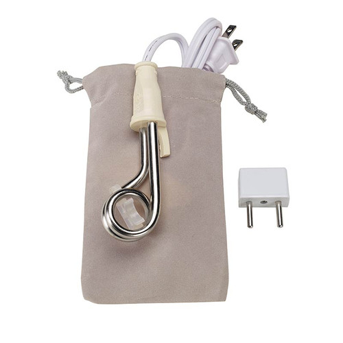 Dual voltage immersion heater with heat resistant pouch and European adapter plug