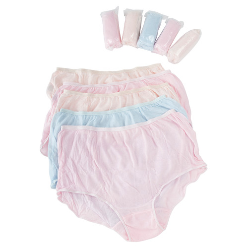 Women's Disposable Full Cut Brief comes in 5 pastel shades to a pack.