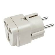 Continental Europe Grounded Adapter plug for use with all 2-prong and 3-prong North American plugs.