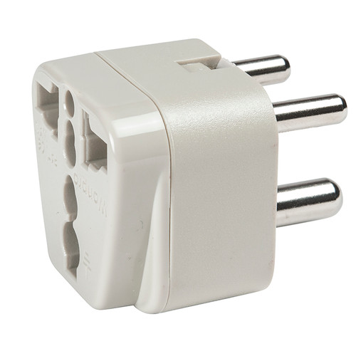 India/Middle East Adapter Plug - Grounded accepts all North America 2-prong and 3-prong plugs.