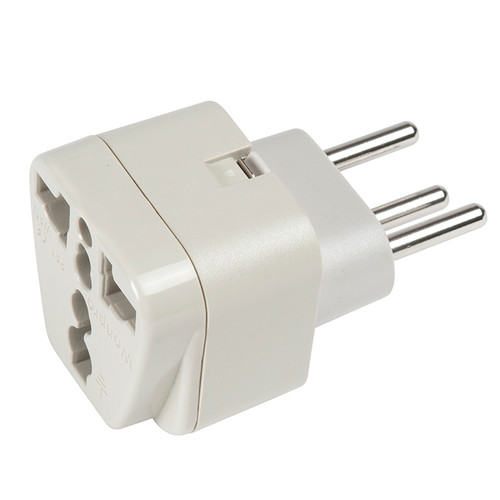 Switzerland Adapter Plug - Grounded accepts North America 2-prong and 3-prong plugs.