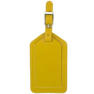 Leather luggage tag in yellow