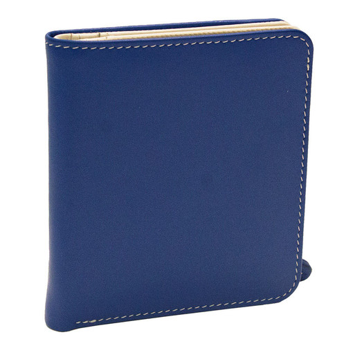 Leather RFID mini wallet in cobalt