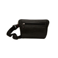 Leather RFID waist wallet in black