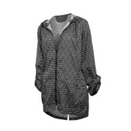 Hi-Lo packable rain jacket in diamond dot