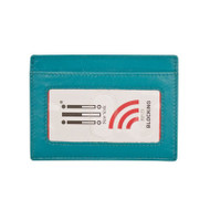 RFID Leather card case in aqua - clear ID window