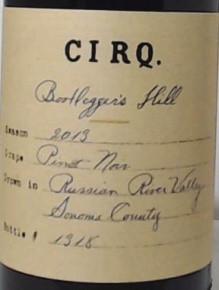 2013 CIRQ Pinot Noir Bootlegger's Hill