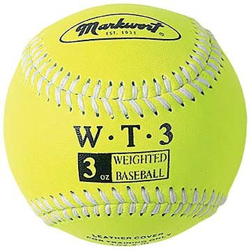 "Markwort Weighted 9"" Leather Covered Training Baseball (3 OZ)"