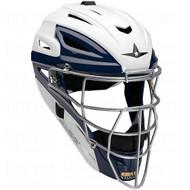 All Star System 7 Two Tone Catchers Helmet MVP2500WTT 7 to 7 3/4 (White-Scarlet)