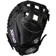 Louisville Slugger Xeno 33 Inch Fastpitch Catchers Mitt Dual Post Black Right Hand Throw
