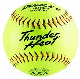 """Dudley Thunder Heat 12"""" ASA Fastpitch Softballs Leather Cover COR 47 Compression 375lbs 1 Doz"""