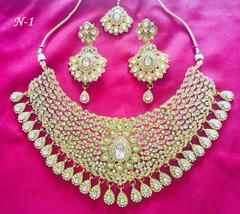 Amazing Gold Plated Stone Work Necklace Set1447