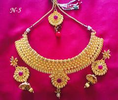 Amazing Gold Plated Stone Work Necklace Set1451