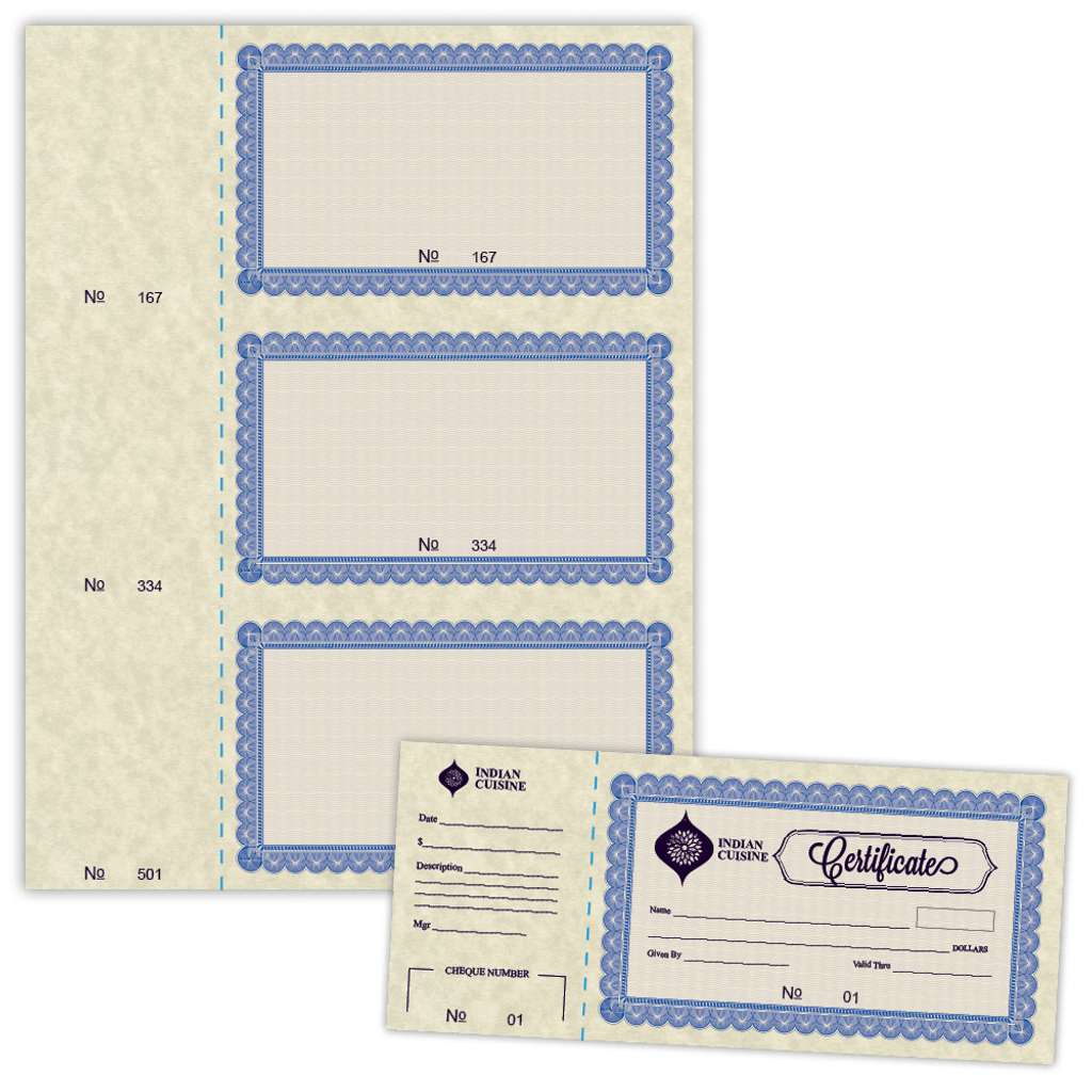 85 x 367 gift certificate numbered 01 500 with border on 85 dimensions sheet and sample yadclub Images