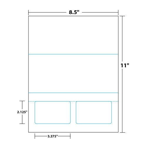 """8.5"""" x 11"""" Tri-Fold Sheet with Two Integrated Cards on 8.5"""" x 11"""", White 8 Mil. Synthetic Paper, 100 Sheets, 200 Cards/Pack"""