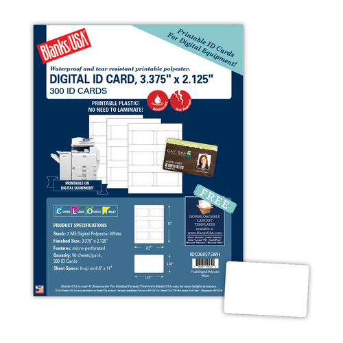 "3.375"" x 2.125"" ID Card on 8.5"" x 11"", White 7 Mil. Polyester, 300/pack"