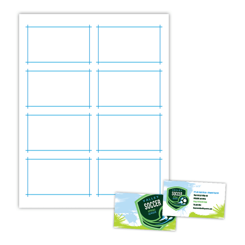 """3.5"""" x 2"""" Smooth Edge Business Card on 8.5"""" x 11"""", White 11 Pt. Cast Coat, C1S, 200 Cards/pack"""