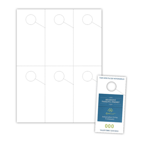 "2.75"" x 5.5"" Parking Pass on 8.25"" x 11"", White 7 Mil Polyester, 60 Parking Passes/pack"