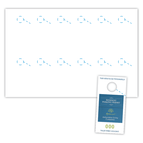 "2.75"" x 5.5"" Parking Pass on 12"" x 18"", White 7 Mil Polyester, 1200/pack"