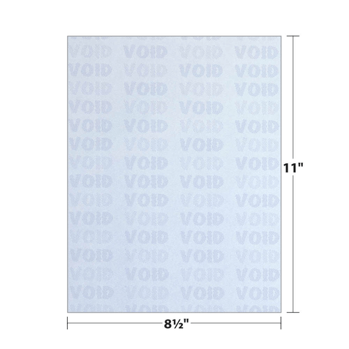 """8.5"""" x 11"""" Void K2 Security Paper with 10 Features, Blue 25 Lb. Bond, 250 Sheets/pack"""