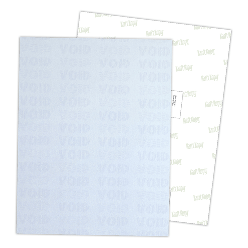 """8.5"""" x 11"""" Void K2 Security Paper with 12 Features, Blue 25 Lb. Bond, 100 Sheets/pack"""