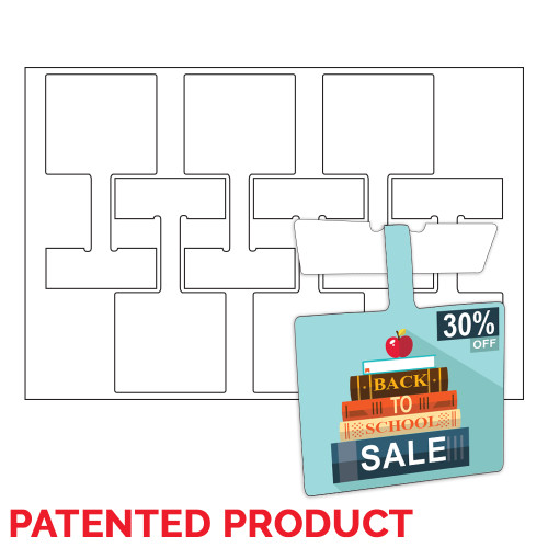 """7.5"""" x 4"""" Lift Off™ Shelf Talker on 12"""" x 18"""", White 8 Mil. Synthetic, 300/Pack"""