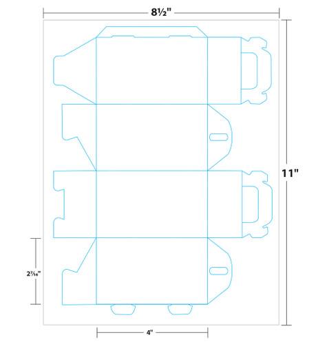 "2.4"" x 2.4"" x 5"" Lift Off™ Tote Box on 8.5"" x 11"", White 100 Lb. Vellum, 25 Boxes/Pack"