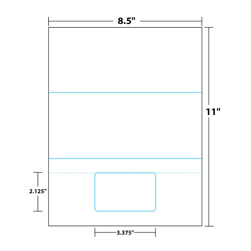 """8.5"""" x 11"""" Tri-Fold Sheet with One Integrated Card on 8.5"""" x 11"""", White 8 Mil. Synthetic Paper, 100 Sheets, 100 Cards/Pack"""