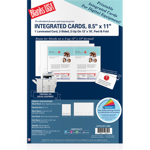 """8.5"""" x 11"""" sheet with One Peel & Fold Integrated Card on 12"""" x 18"""" White 80 Lb. Digital Gloss Cover, 250 Sheets, 500 Brochures/pack"""
