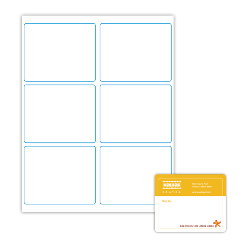 """4"""" x 3.25"""" Shipping Label on 8.5"""" x 11"""", White 120 Lb. Matte, 600 Labels/pack"""