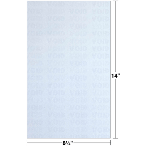 """8.5"""" x 14"""" Void K2 Security Paper with 10 Features, Blue 25 Lb. Bond, 250 Sheets/pack"""