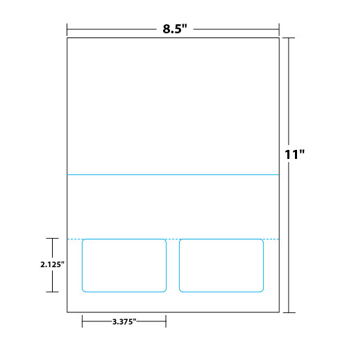 """8.5"""" x 11"""" Bi-Fold Sheet with Two Integrated Cards on 8.5"""" x 11"""", White 8 Mil. Synthetic Paper, 100 Sheets, 200 Cards/Pack"""