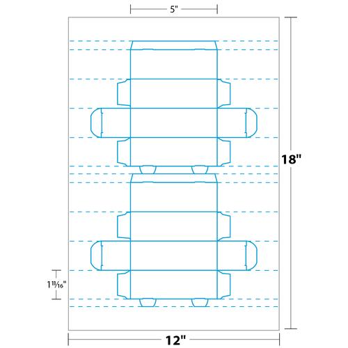 """1.687"""" x 5"""" Golf Ball Box on 12"""" x 18"""", White 12 Pt. Cast Coat, C1S, 100/pack"""