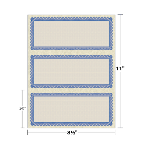 """8.5"""" x 3.67"""" Certificate with Border on 8.5"""" x 11"""", 60 Lb. Astroparche, 50/pack"""
