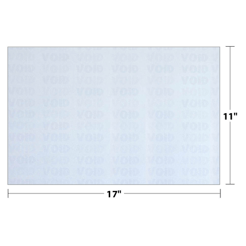 """11"""" x 17"""" Void K2 Security Paper with 12 Features, Blue 25 Lb. Bond, 500 Sheets/pack"""