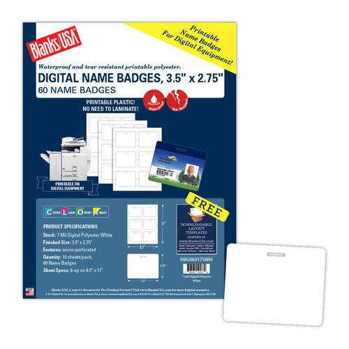 "3.5"" x 2.75"" Name Badge on 8.5"" x 11"", White 7 Mil. Polyester, 60/pack"