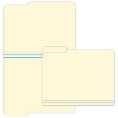 "9.5"" x 11"" File Folder with Left Tab on 11.75"" x 18.5"", Manila 125 Lb. Tag Stock, 250/pack"