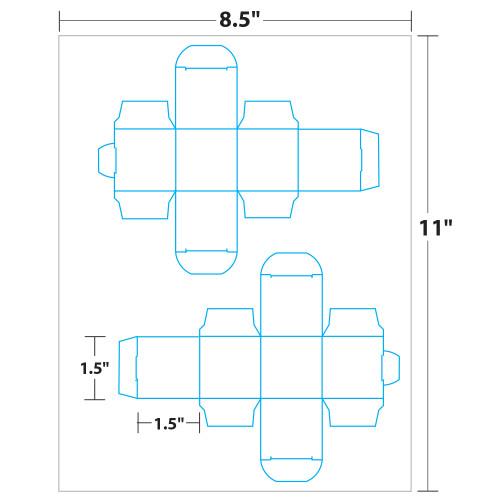 "1.5"" x 1.5"" Lift Off™ Box on 8.5"" x 11"", White 100 Lb. Vellum, 50 Boxes/Pack"