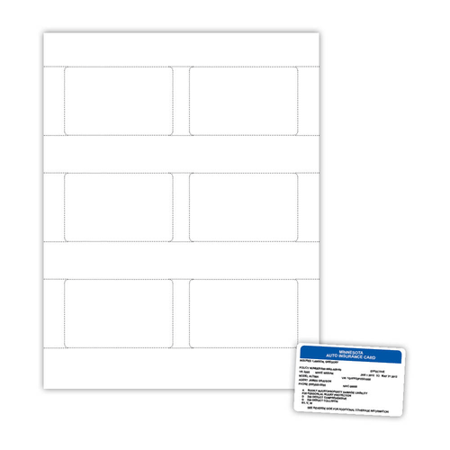 "3.375"" x 2.125"" ID Card on 8.5"" x 11"", White 7 Mil. Polyester, 600/pack"