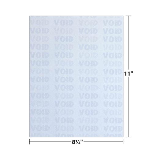 "8.5"" x 11"" Void K1 3-Part Carbonless Security Paper with 8 Features, Blue 20 Lb. Bond, 250 Sheets/pack"