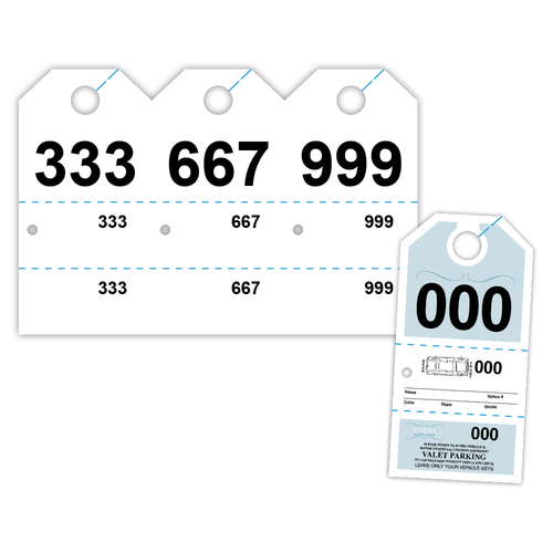 """4"""" x 8"""" Hang Ticket Numbered 000-999 on 8"""" x 12"""", 67 Lb. Bristol Cover, 1000/pack"""