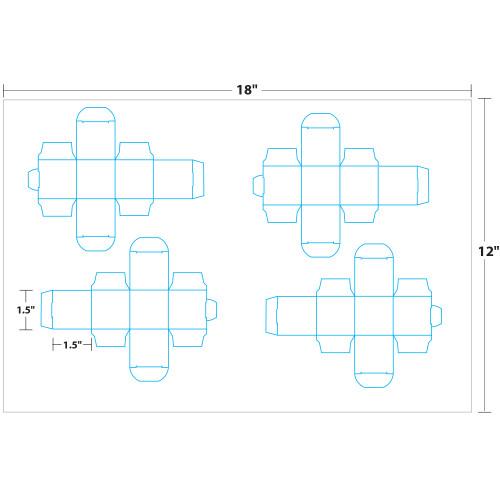 "1.5"" x 1.5"" Lift Off™ Box on 12"" x 18"", White 100 Lb. Vellum, 200 Boxes/Pack"