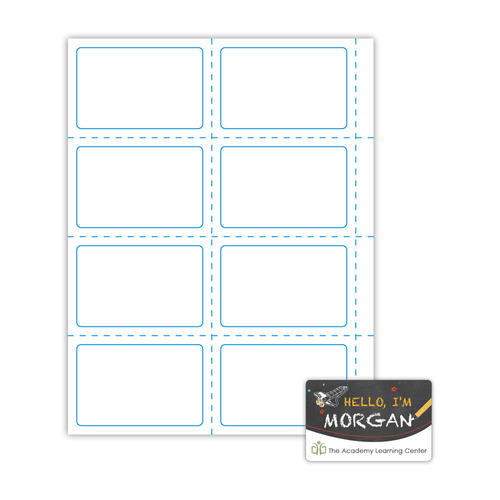 """3.5"""" x 2.25"""" Name Badge Label on 8.5"""" x 11"""", White 120 Lb. Matte, 800 Labels/pack"""